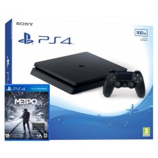 PlayStation 4 SLIM Bundle (500 Gb, черный, Metro Exodus), 222239, Консоли